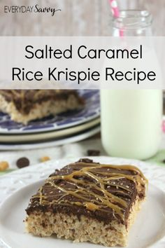 Looking for a yummy treat? Then you will want to check out this Easy Salted Caramel Rice Krispie Recipe. This is so easy to make but looks and tastes amazing. How can you go wrong with rice krispies, caramel and chocolate. Plus there is no baking required! I promise I won't tell anyone how easy it is to make! desserts, bars, dessert