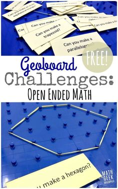 Explore, discover and analyze shapes with this fun set of Geoboard Activity Cards! Geoboards can be a powerful tool in the math classroom and this post will explain how to use them effectively, plus includes a free set of challenges to get you started! http://mathgeekmama.com/geoboard-activity-cards/?utm_campaign=coschedule&utm_source=pinterest&utm_medium=Bethany%20%7C%20Math%20Geek%20Mama&utm_content=Geoboard%20Activity%20Cards%20%7BFREE%20Geometry%20Challenge%7D
