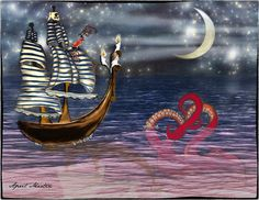 Pirate Ship Octopus Moon and Stars 8x10 by amaginationstudios,
