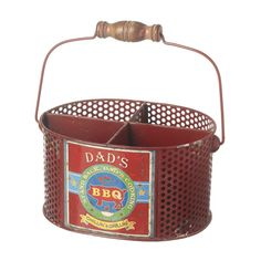 Dad's BBQ Cutlery Holder.  This lovely red rustic BBQ cutlery holder with a retro design is perfect for a BBQ buff who wants keep all the cutlery together! Perfect for placing on the table for people to help themselves at a BBQ!