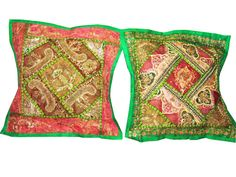 Sari Toss Pillows, Cushion Covers, 2 Green Sequin Embroidery  $33.50