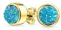 Bling Jewelry Dyed Blue Druzy Quartz Stud Earrings Gold Plated 8mm.
