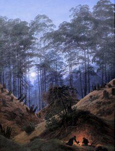 Caspar David Friedrich (1774-1840), La Forêt par Nuit de Claire Lune - vers 1825.