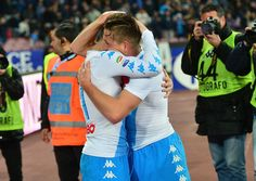 Emanuele Giaccherini and Dries Mertens of SSC Napoli celebrate the 2-0 goal scored by Emanuele Giaccherini during the Serie A match between SSC Napoli and Genoa CFC at Stadio San Paolo on February 10, 2017 in Naples, Italy.