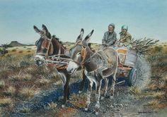 Solomon's donkey cart Abstract Animals, Abstract Art, Poppy Flower Painting, Landscape Photography, Art Photography, African Art Paintings, South African Art, The Donkey, Mosaic Art