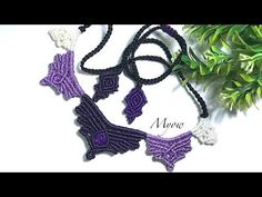 For summer - macrame necklace mixed with women's shirys - macrame tutorial with Myow. In this video we will need: - Nylon cord - +black: - +eggplan. Macrame Earrings, Macrame Jewelry, Crochet Necklace, Chevron Friendship Bracelets, Friendship Bracelets Tutorial, Macrame Knots, Micro Macrame, Loom Bracelets, Macrame Bracelets