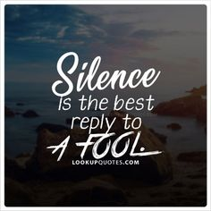 #Silence is the best reply to a #fool. #hater #negative #quotes