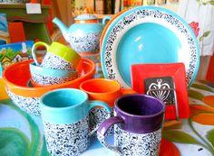 Susan Whitham's ceramics are bold and bright Bright, Ceramics, Mugs, Sunglasses, Tableware, Dinnerware, Cups, Tumbler, Dishes