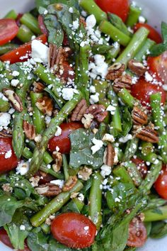 Spinach, Asparagus, Tomato Salad Recipe with tossed with toasted pecans, feta cheese and homemade Balsamic Vinaigrette. A perfect fresh…