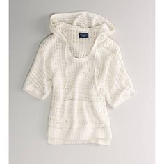 American Eagle Outfitters Ae Open Knit Hooded Popover ($35) ❤ liked on Polyvore