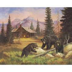 Bears on Log ~ Fine-Art Print - Black Bear Art Prints and Posters - Bear Pictures Rustic Artwork, Bear Paintings, Wildlife Paintings, Oil Paintings, Bear Decor, Bear Pictures, Bear Art, Wildlife Art, Black Bear