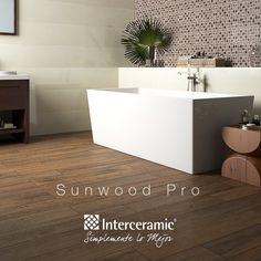 La madera cerámica es un material idóneo para áreas como el baño debido a su alta resistencia a la humedad.  #TipsInterceramic