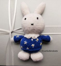 Hand Knitted Miffy Rabbit stuffed toy Baby by HandKnittedYorkshire