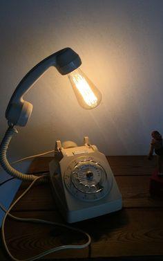 Lampe recup deco loft vintage la téléphone ivoire  ancien a cadran