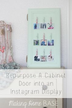 cabinet door repurposed into photo display Diy Home Decor Projects, Diy Projects To Try, Photo Projects, House Projects, Shadow Box, Instagram Display, Home Decor Inspiration, Decor Ideas, Craft Ideas