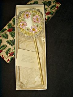 The Gatherings Antique Vintage - Vintage 1920  Boag Silk Ribbon Rosette Powder Puff  Wand Christmas Box, $68.50 (http://store.the-gatherings-antique-vintage.net/vintage-1920-boag-silk-ribbon-rosette-powder-puff-wand-christmas-box/)  SOLD
