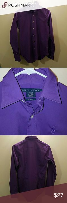 Polo shirt Purple button down dress shirt from RL. A little bit of a slim fit but big for a 6 very comfy and light Ralph Lauren Tops