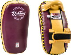 """The best rated YOKKAO Purple Vintage """"Free Style"""" Kicking Pad now available in Vintage purple color! Handmade in premium leather with 5 kinds of foams for high impact absorption. Martial Arts Equipment, Muay Thai, Kicks, Purple, Leather, Training, Shopping, Vintage, Shorts"""