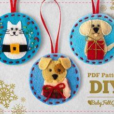 Christmas Hearts, Felt Christmas Ornaments, Christmas Animals, Dog Ornaments, Diy Christmas, Xmas, Christmas Sewing, Homemade Christmas, Glass Ornaments