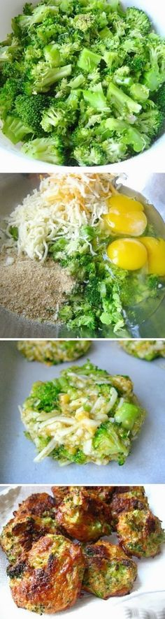 Broccoli Bites: 16 oz broccoli 1 1/2 cup cheddar cheese 3 eggs 1 cup italian breadcrumbs Bake 375F for 25 mins (turn after 15 mins)