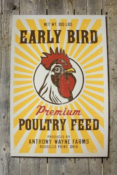Retro Early Bird Poultry Feed Sack 12 1/2 x 19 Screen Print Poster on Etsy, $24.99