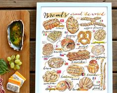 Name: Bread World (portrait).  This colorful fine art print features a selection of breads from around the world. A perfect print for the kitchen, or a