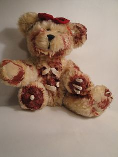 Zombie Teddy Bear Read My Thoughts  Bearly Zombie by TheDarkerMoon, $65.00