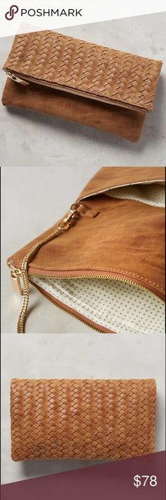 """anthropologie • amitie vegan leather clutch NWT • clutch or a shoulder bag • color: cedar • woven detail • removable chain strap • two compartments • zip closure • polyurethane vegan leather; cotton lining • dimensions: 7""""H, 11""""W, 0.25""""D • 24"""" strap drop • stock photos • no trades • 004000 Anthropologie Bags Clutches & Wristlets"""