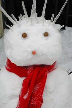 A punk rock snowman with icicles as hair. photo by RobertFrancis