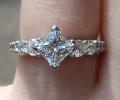 Kite set princess cut engagement ring
