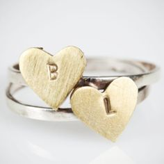 Brass Heart Rings with Letter - We Heart This Heart Rings, Cufflinks, Brass, Stud Earrings, Lettering, Big Diamonds, Store, Accessories, Lust