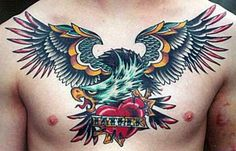 I like the bold lines; but, not a huge fan of the fac or dragon-ish wings. Traditional Tattoo Bird, Traditional Ink, Chest Piece Tattoos, Chest Tattoo, Eagle Tattoos, Tribal Tattoos, Tatoos, Sweet Tattoos, Tattoos For Guys