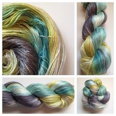 SILK! These skeins are 100% cultivated silk that was spun in Italy. They are absolutely dreamy! Look closely at the photos and you can see the shine. They shine like golden hair in the sunshine. They are lace weight, which is just slightly lighter than my fingering weight skeins.~3 available~Color(s): light shades of teal, yellow, gray and black/charcoal (I use only professional grade dyes) Fiber(s): 100% cultivated silkWeight: lace, 4-plyLength/yardage: 100 grams, 43...