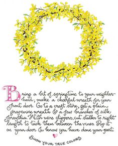 """Bring a bit of springtime...I am showing my true colors!!  I have a wreath just like this on my front door!  It says """"Welcome Spring!!!"""""""