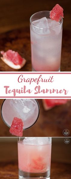 Make a quick and easy cocktail with one of winter's best fruits and enjoy a refreshing Grapefruit Tequila Slammer. Beste Cocktails, Vodka Cocktails, Refreshing Cocktails, Cocktail Drinks, Cocktail Recipes, Alcoholic Drinks, Drinks Alcohol, Bacardi Drinks, Cocktail Tequila