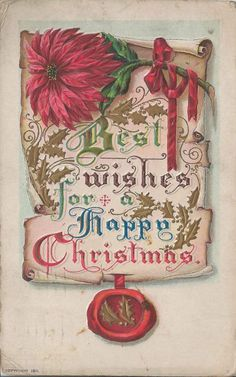1915 Best Wishes Happy Christmas Postcard Elegant Card Featuring Poinsettias #Christmas