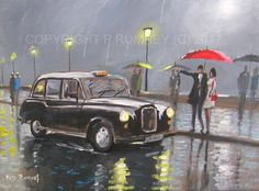 PETE RUMNEY FINE ART ORIGINAL ACRYLIC PAINTING CATCHING A BLACK CAB TAXI RAIN  in Art, Direct from the Artist, Paintings | eBay!