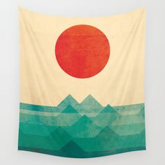 Wall Tapestries featuring The ocean, the sea, the wave by Budi Kwan