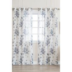 Best Home Fashion Inc. Faux Linen Watercolor Rose Print Sheer Curtains... (39 AUD) ❤ liked on Polyvore featuring home, home decor, window treatments, curtains, no color, textured curtains, patterned curtains, sheer curtains, navy sheer curtains and window coverings