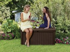 Keter Borneo 110 Gallon Resin Outdoor Storage Bench and Deck Box for Patio Furniture, Brown Patio Furniture Cushions, Outdoor Cushions, Outdoor Furniture, Garden Furniture, Patio Storage, Outdoor Storage, Box Storage, Storage Ideas, Borneo