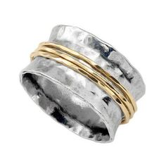 Silver Spinning Ring with 3 Goldfilled bands - catalog