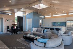 Natural light in the living room by Lockwood Homes NZ - features a Mitsubishi Electric HyperCore heat pump Blue Feature Wall, Floor Plans Online, Lakeside Living, New Zealand Houses, Living Spaces, Living Room, Home Kitchens, Dream Kitchens, Luxury Living