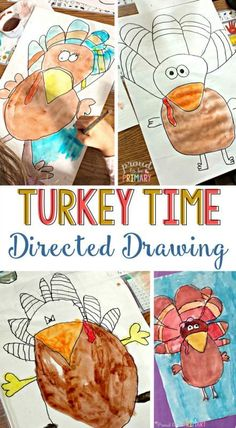 Looking for the perfect arts and craft activity for Thanksgiving? This turkey directed drawing provides teachers with a step-by-step lesson that kids will love! Grab the FREE printable directe drawing instructions. #turkeyart   #thanksgivingactivities #directeddrawing #fallart    #artforkids #kidart
