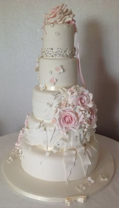 Simple with a touch of bling wedding cake