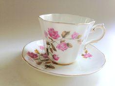 Royal Grafton Tea Cup and Saucer Pink Tea Cups by AprilsLuxuries