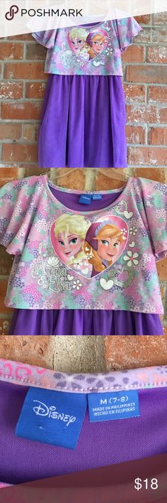 """Adorable Disney Frozen Dress with Tulle 7/8 This dress is so cute and in great condition. My grand only wore it a couple of times. It is 28"""" long from top of shoulder. Disney Dresses Casual"""