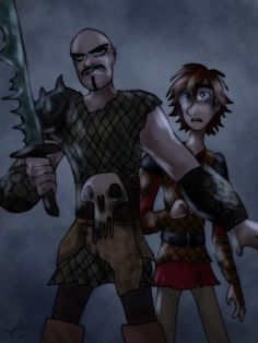 Fanart where Ryker has his redemption by protecting Hiccup from Viggo.