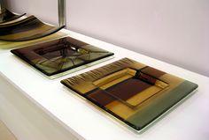 Kiln fused glass art bowl