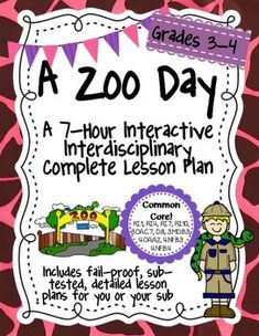 For Grades 3-4. For my 5th-6th grade version with more complex text and tasks, click here.This packet includes everything you need for a complete interdisciplinary interactive unit on zoo animals. I created this unit to leave with a sub for 3rd-4th  graders to complete in a day.