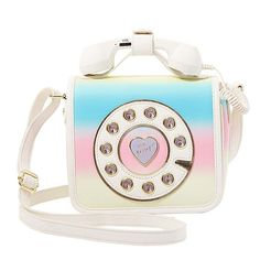Betsey Johnson Kitsch Must Have Mini Phone Crossbody ($88) ❤ liked on Polyvore featuring bags, handbags, shoulder bags, rainbow multi, white cross body purse, white crossbody purse, crossbody purses, mini crossbody and white purse